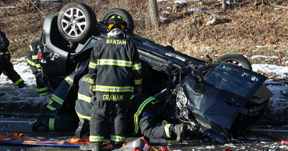 Two vehicles collide on Route 202 curve