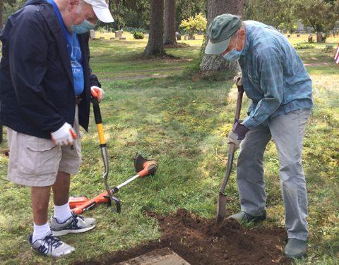 Family plot maintenance in cemetery